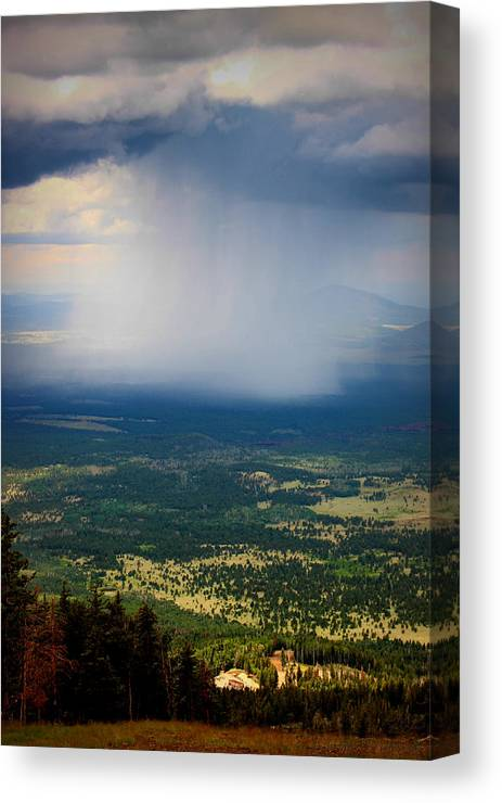 Flagstaff Canvas Print featuring the photograph Rain Shaft From The Peaks by Aaron Burrows