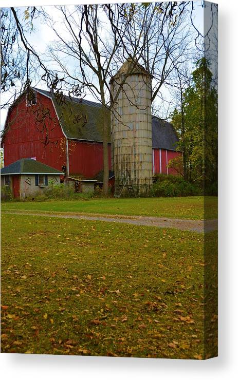 Nature Canvas Print featuring the photograph Red Barn And Silo#2 by Richard Jenkins