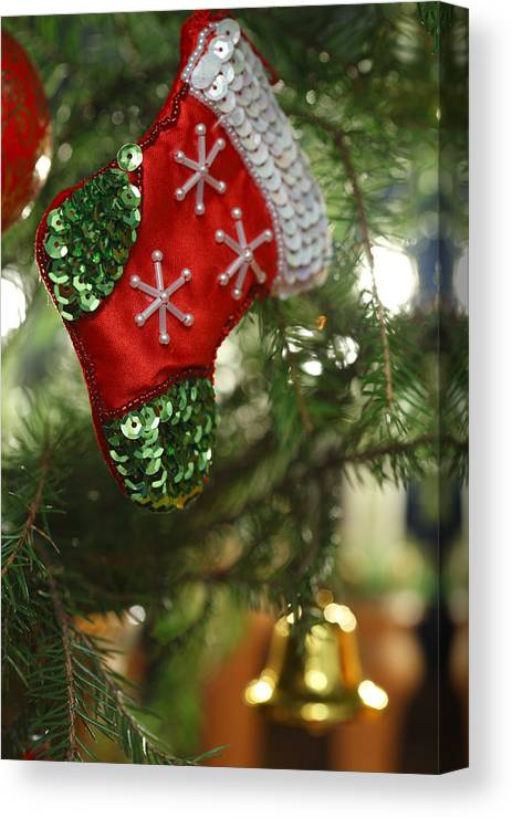 Beading Canvas Print featuring the photograph Red Christmas Stocking - Available For Licensing by Ulrich Kunst And Bettina Scheidulin