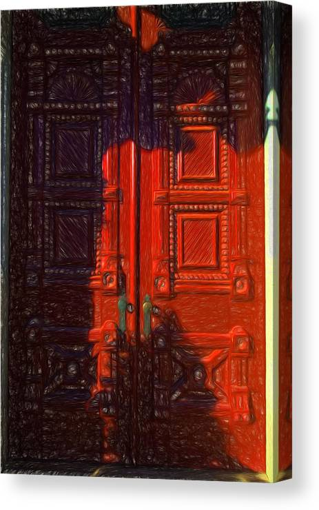 Red Door Behind Mysterious Shadow Canvas Print featuring the photograph Red Door Behind Mysterious Shadow by L Wright