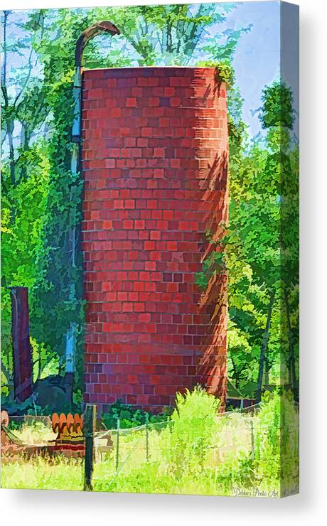 Agriculture Canvas Print featuring the photograph Red Tile Silo Digital Paint by Debbie Portwood