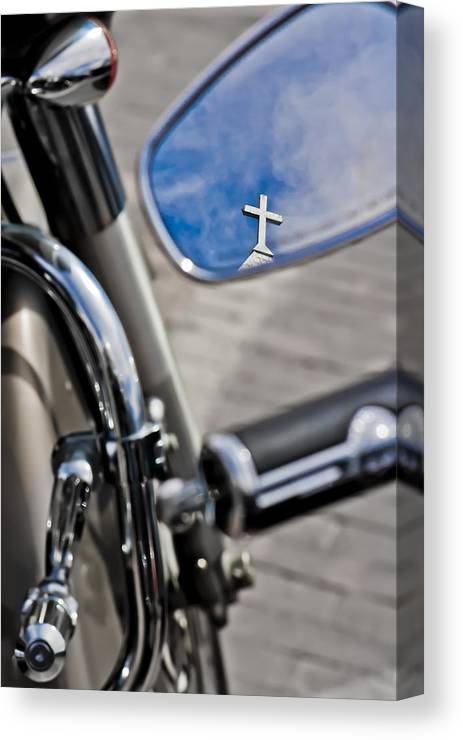 Cross Canvas Print featuring the photograph If Jesus Rode A Harley by Sharon Vaughn Thompson