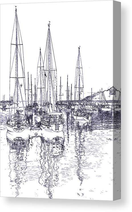 Sailboats Canvas Print featuring the photograph Rockport Sailboats - Photo Shetch by Ray Summers Photography