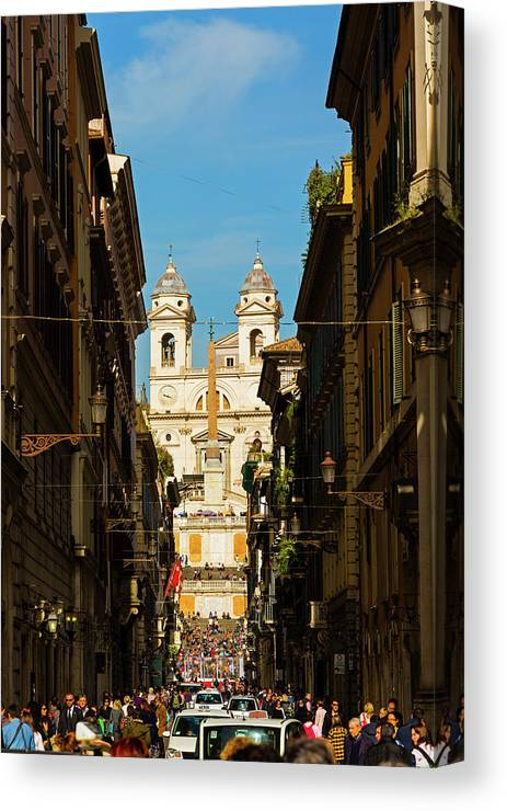 Photography Canvas Print featuring the photograph Rome, Italy. View Along Via Dei by Panoramic Images