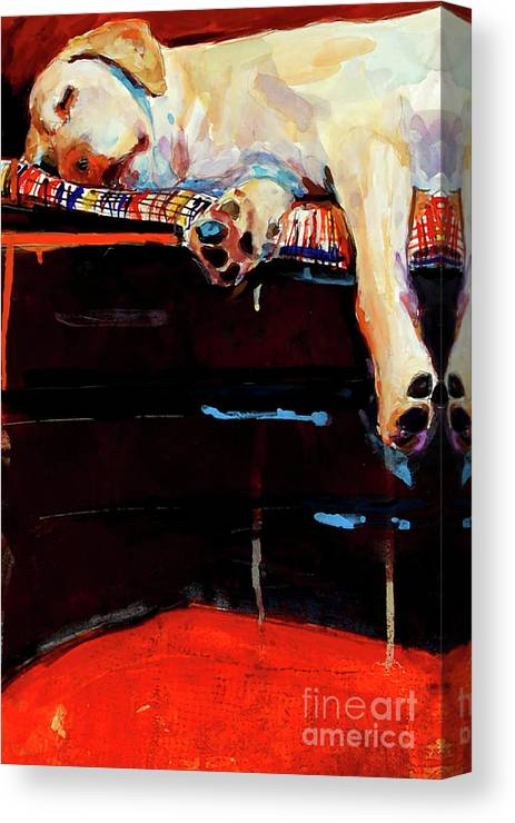 Dog Sleeping Canvas Print featuring the painting Sacked by Molly Poole