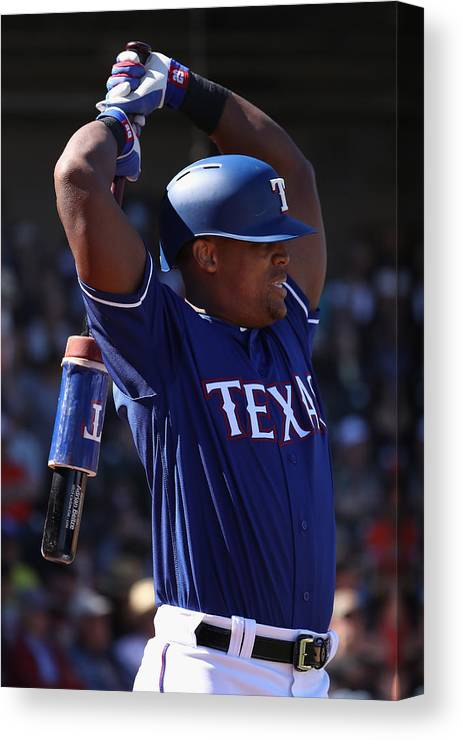 Adrian Beltre Canvas Print featuring the photograph San Francisco Giants V Texas Rangers by Christian Petersen