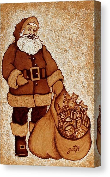Santa Coffee Art Canvas Print featuring the painting Santa Claus Bag by Georgeta Blanaru