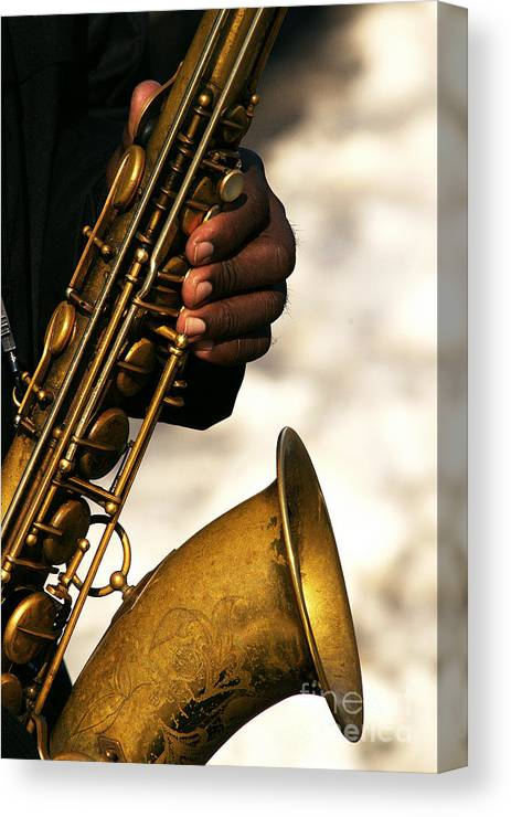 Canvas Print featuring the mixed media Saxy by Dt