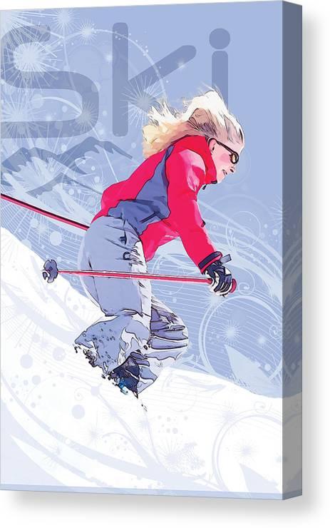 Snow Canvas Print featuring the digital art Ski 1 by Anita Hubbard