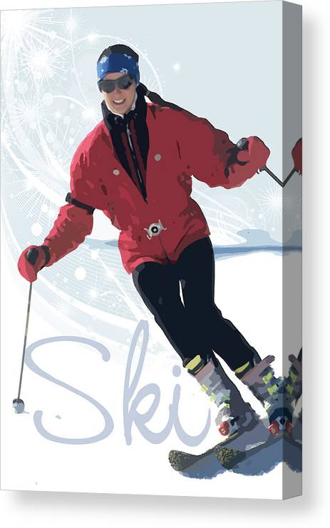 Snow Canvas Print featuring the digital art Ski 3 by Anita Hubbard