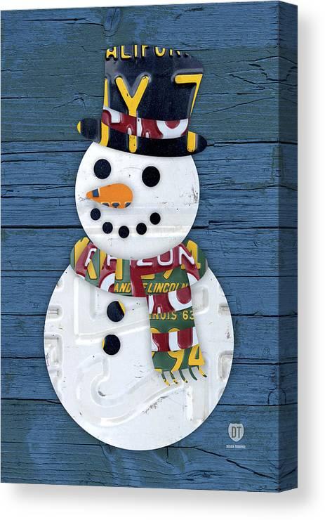 Snowman Canvas Print featuring the mixed media Snowman Winter Fun License Plate Art by Design Turnpike