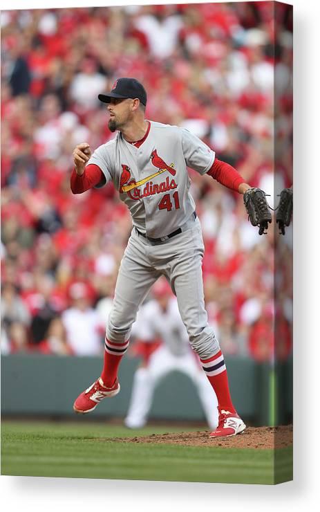 Great American Ball Park Canvas Print featuring the photograph St. Louis Cardinals Vs. Cincinnati Reds by John Grieshop