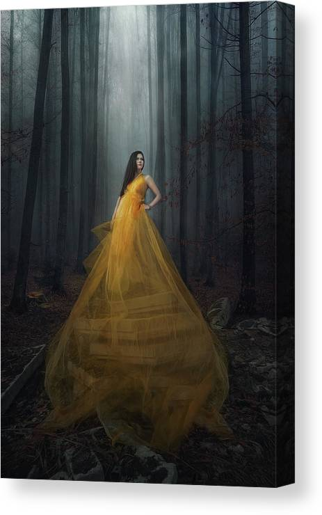 Dress Canvas Print featuring the photograph Stand Here by Afiez Appleproject