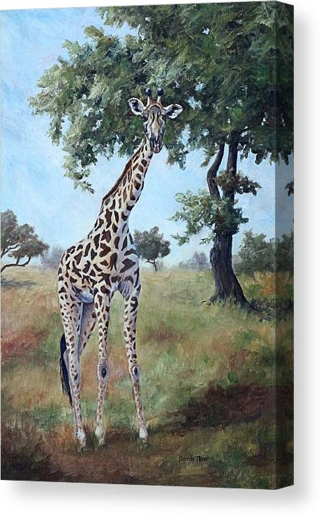 Giraffe Canvas Print featuring the painting Standing Tall by Brenda Thour