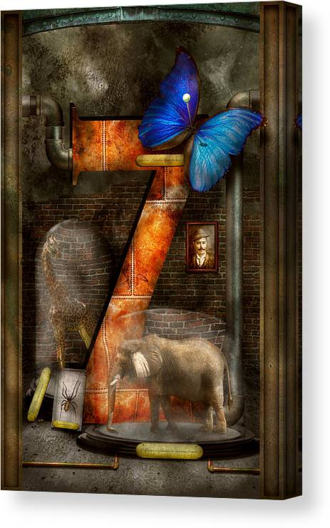 Self Canvas Print featuring the photograph Steampunk - Alphabet - Z Is For Zoology by Mike Savad