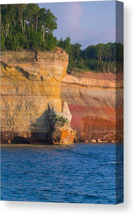 Pictured Rocks Canvas Print featuring the photograph Steep Cliffs by Calypso Pictures