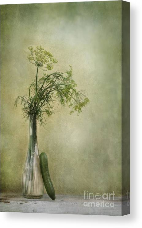 Dill Canvas Print featuring the photograph Still Life With Dill And A Cucumber by Priska Wettstein