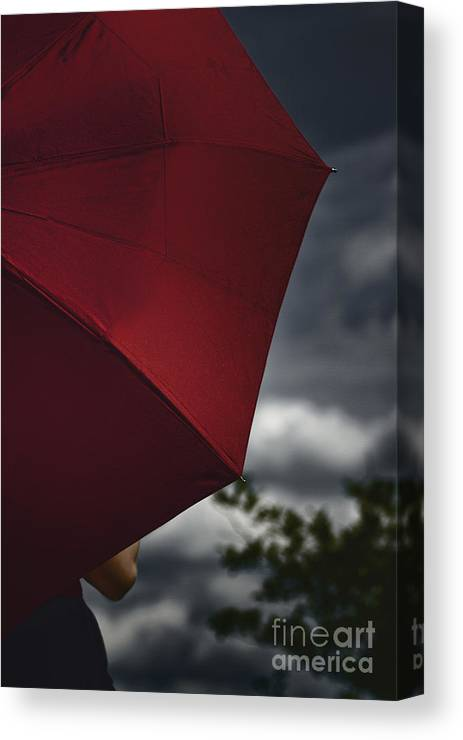 Caucasian; Woman; Female; Lady; Bright; Color; Red; Umbrella; Back; Holding; Outside; Outdoors; Storm; Stormy; Clouds; Sky; Dark; Ominous; Foreboding; Tree; Cropped; Summer; Spring; Covered; Protection Canvas Print featuring the photograph Stormy by Margie Hurwich