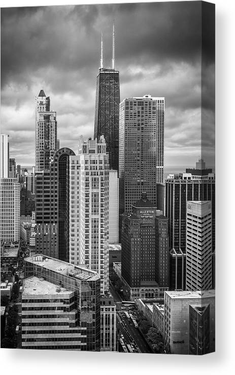 3scape Canvas Print featuring the photograph Streeterville From Above Black And White by Adam Romanowicz