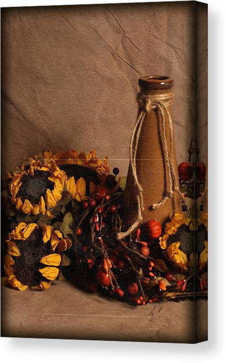 Still Life Canvas Print featuring the photograph Sunflowers And Vase by Andrea Fitch