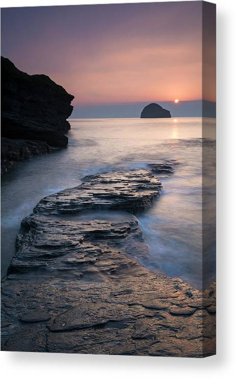 England Canvas Print featuring the photograph Sunset Over Gull Rock From Trebarwith by Adam Burton / Robertharding