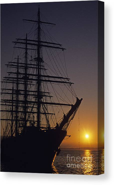 Travel Canvas Print featuring the photograph Tall Ship Silhouetted by Jim Corwin