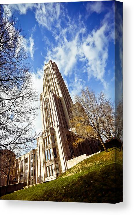 Cathedral Of Learning Pittsburgh Pa Oakland Pitt University College Education Taaffe Urban Panthers Students Frat Europe Andy Warhol Warhola East Pittsburgh Forbes Field Honus Wagner Canvas Print featuring the photograph The Cathedral Of Learning 1 by Jimmy Taaffe