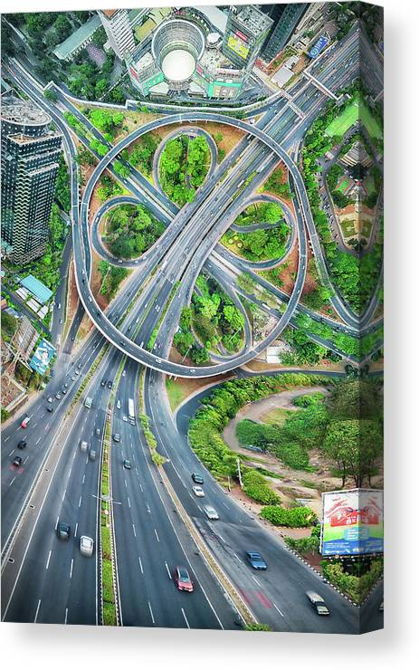 Semanggi Canvas Print featuring the photograph The Clover Interchange (semanggi) by Abel Brata