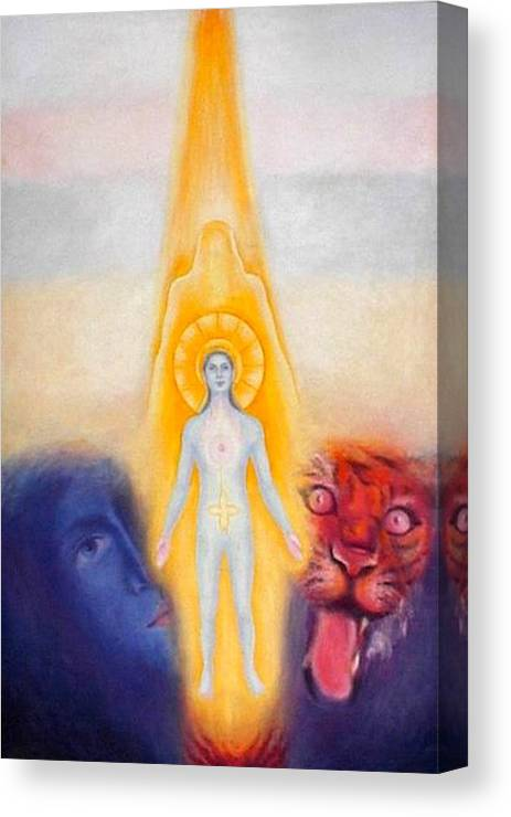 Man Canvas Print featuring the painting The Descent Of The Truth-consviousness by Shiva Vangara