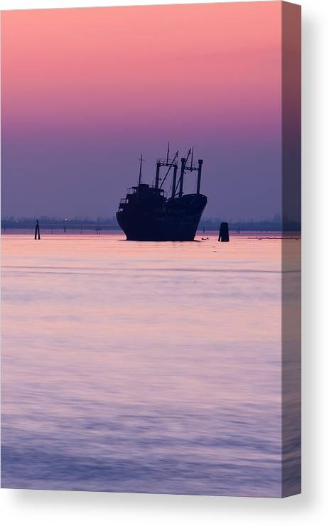 Ship Canvas Print featuring the photograph The Ghost Ship by Mattia Oselladore