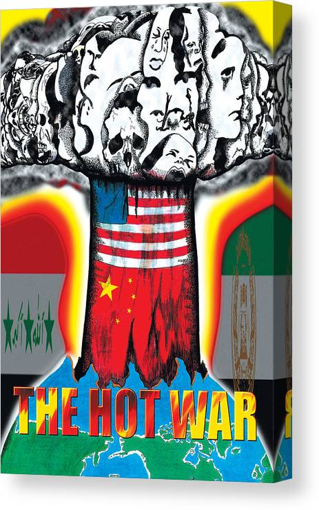 Mushroom Cloud Canvas Print featuring the digital art The Hot War by Bryan Fleming