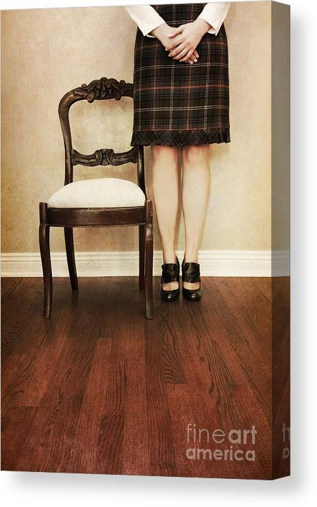 Woman; Female; Lady; Standing; Skirt; Legs; Hands; Knees; School; Teacher; Wood; Shoes; Prim; Proper; Caucasian; Old; Vintage; Plaid; Matron Canvas Print featuring the photograph The Stand by Margie Hurwich