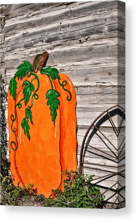 West Jordan Canvas Print featuring the photograph The Wooden Pumpkin by Image Takers Photography LLC - Carol Haddon