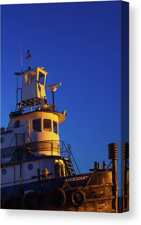 Photography Canvas Print featuring the photograph Tug Boat At Dawn, Cape Ann, Gloucester by Panoramic Images