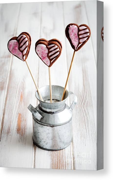 Assorted Canvas Print featuring the photograph Valentine Cookie Pops by Kati Finell