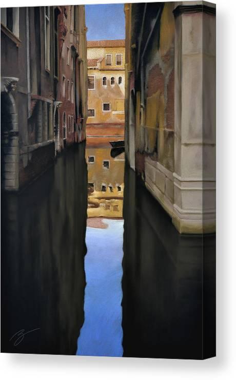 Pastel Canvas Print featuring the pastel Venice Reflections - Pastel by Ben Kotyuk