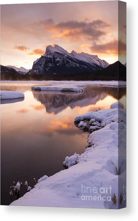 Banff Canvas Print featuring the photograph Vermillion Lakes In Banff National Park by Ginevre Smith
