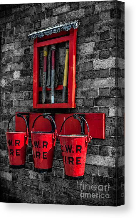 British Canvas Print featuring the photograph Victorian Fire Buckets by Adrian Evans