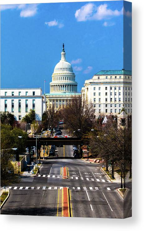 Photography Canvas Print featuring the photograph Washington D.c. - Elevated View by Panoramic Images