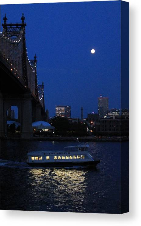 Queensboro Bridge Canvas Print featuring the photograph Water Taxi by Catie Canetti