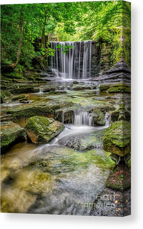 Wrexham Canvas Print featuring the photograph Waterfall by Adrian Evans