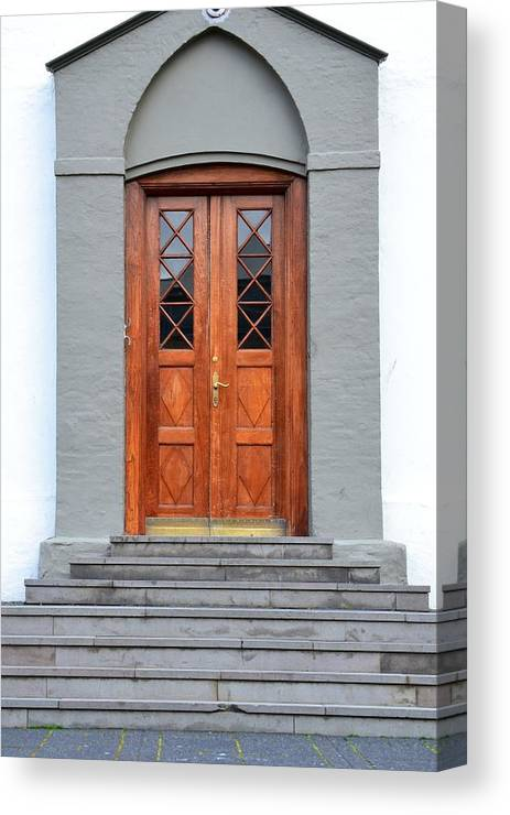 Iceland Canvas Print featuring the photograph Wood Door Iceland by Paula Deutz