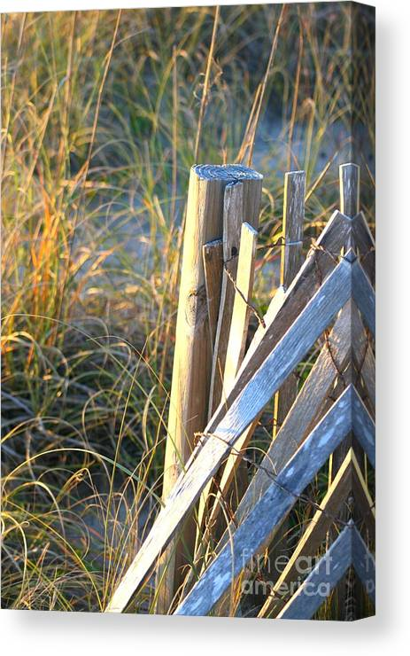 Post Canvas Print featuring the photograph Wooden Post And Fence At The Beach by Nadine Rippelmeyer
