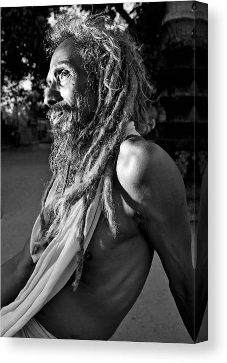 B&w Canvas Print featuring the photograph Yogi At Oachira by Sonny Marcyan