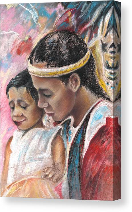 Travel Canvas Print featuring the painting Young Polynesian Mama With Child by Miki De Goodaboom