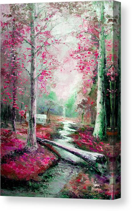 Australian Canvas Print featuring the painting Memory Of Woodland Creek by Giro Tavitian
