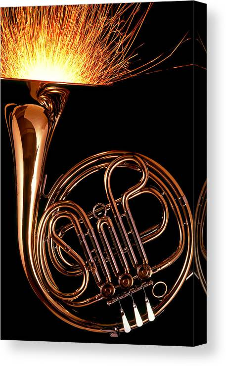 French Canvas Print featuring the photograph French Horn With Sparks by Garry Gay