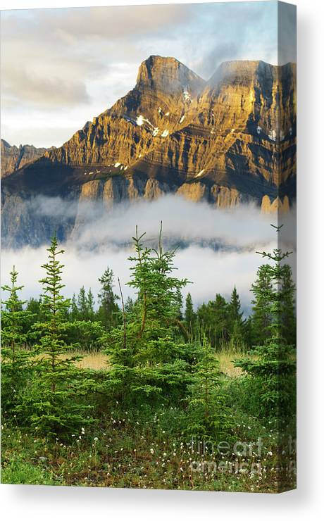 Alberta Canvas Print featuring the photograph Mt Rundle by Ginevre Smith
