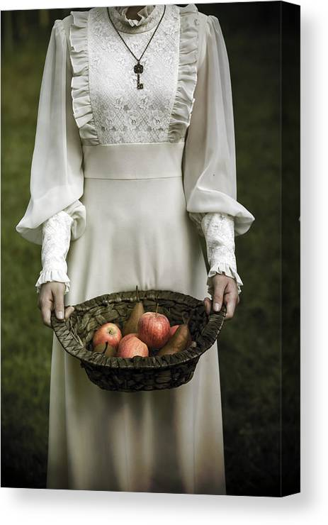Woman Canvas Print featuring the photograph Basket With Fruits by Joana Kruse