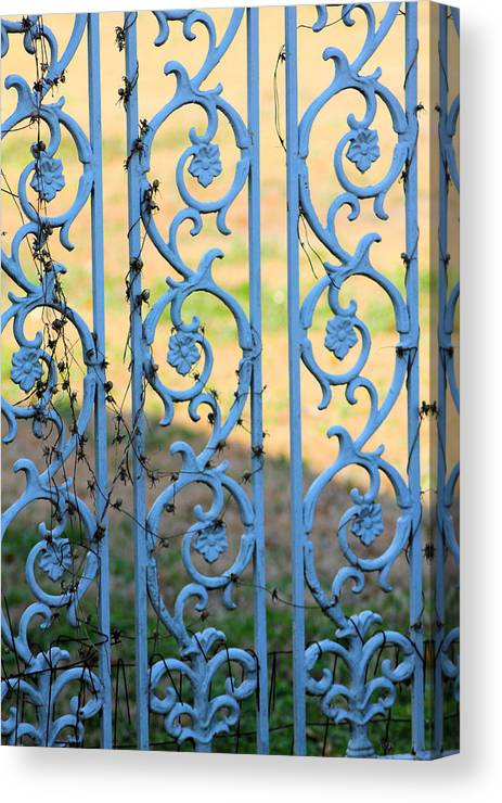 Blue Canvas Print featuring the photograph Blue Gate Swirls by Karen Wagner